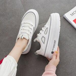 Image 4 - SWYIVY الأبيض أحذية امرأة غير رسمية بولي PU منصة أحذية رياضية النساء جديد 2020 موضة الربيع أحذية رياضية للنساء الخياطة أحذية نسائية خفيفة