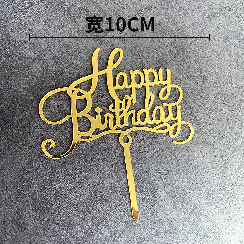 Décoration de gâteau joyeux anniversaire en acrylique | Décoration de gâteau rose or drapeaux pour fête d'anniversaire pour enfants, décorations de gâteau pour réception-cadeau pour bébé