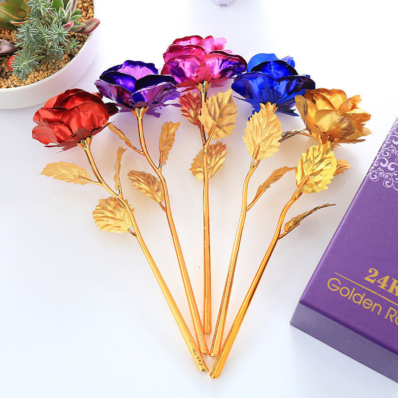 24K Gold Plated Golden Rose Flower Valentine's Day Wedding Birthday Gifts Girlfriend Gift 6 Color Available (no box)