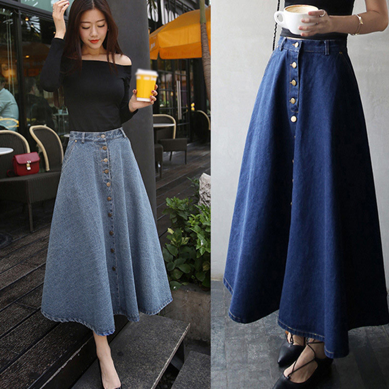 Denim High Waist Women Long Jean Skirts Harajuku A Line Ladies Skirt Vintage Spring Autumn Ankle Length Single Breasted Bottom