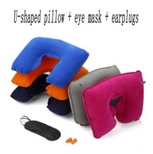 цена на U-shaped pillow + eye mask + earplugs Travel Pillow Inflatable Neck Car Head Rest Air Cushion for Travel Office Nap Head Rest