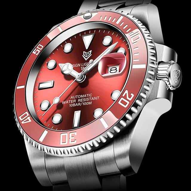2021 Red Men Watches Top Brand Luxury Sapphire Watch Waterproof Automatic Mechanical Watch Mens Fashion Sport 316L Steel Clock 1