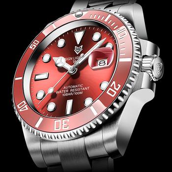 2021 czerwony mężczyźni zegarki Top marka luksusowe szafirowy zegarek wodoodporny automatyczny zegarek mechaniczny mężczyzna mody Sport stal nierdzewna 316L zegar tanie i dobre opinie LIGE 10Bar CN (pochodzenie) Składane bezpieczne zapięcie Moda casual Samoczynny naciąg 22cm STAINLESS STEEL Odporna na wstrząsy