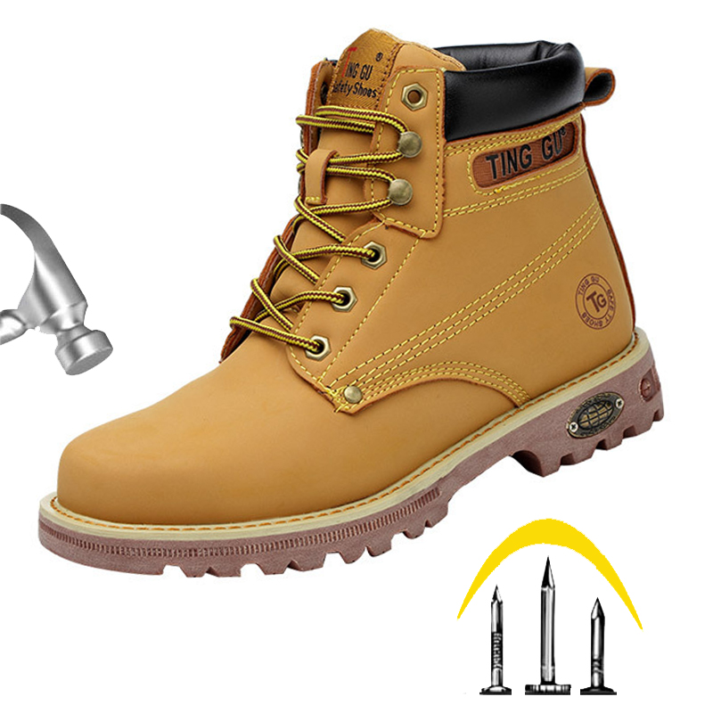 Autumn Winter Work Safety Shoes Genuine Leather Men Indestructible Steel Toe Cap Anti-smashing Safety Boots Solid Ankle Boots