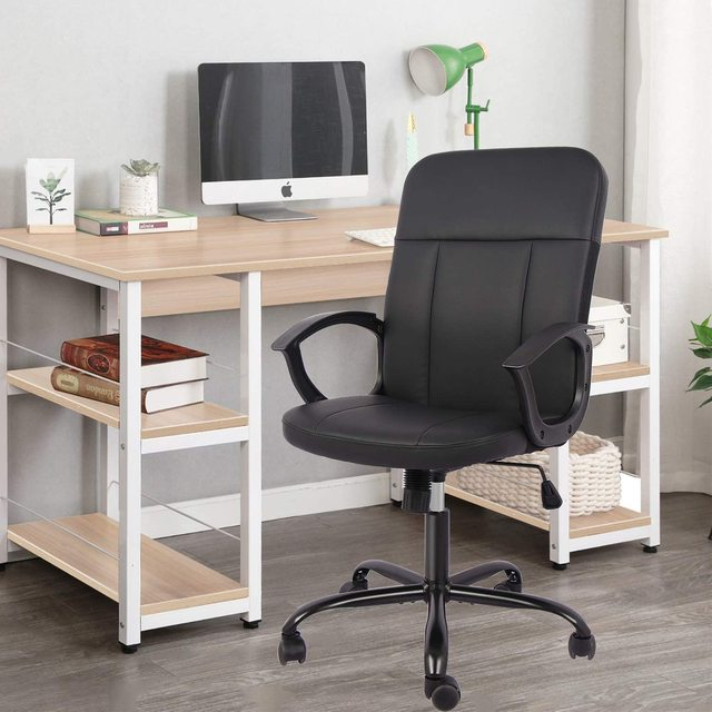 Office Chair, Mid Back Leather Desk Chair, Computer Swivel Office Task Chair, Ergonomic Executive Chair with Armrests 6