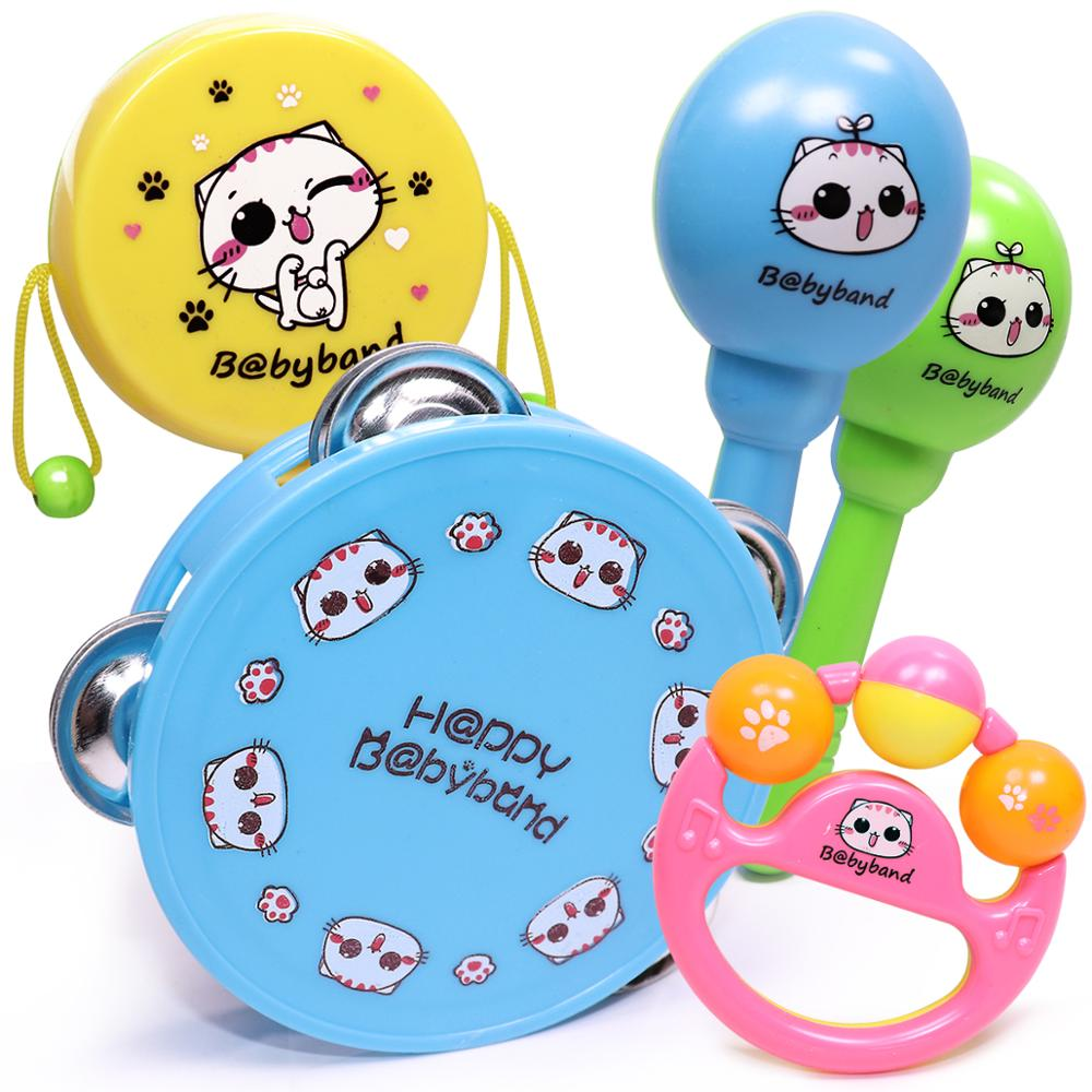 Baby Rattle Toy Set Of 5 Music Instrument For Child Kid Drum Maracas Hand Bell Guitar Infant Toddler Education Mobile Boys Girls