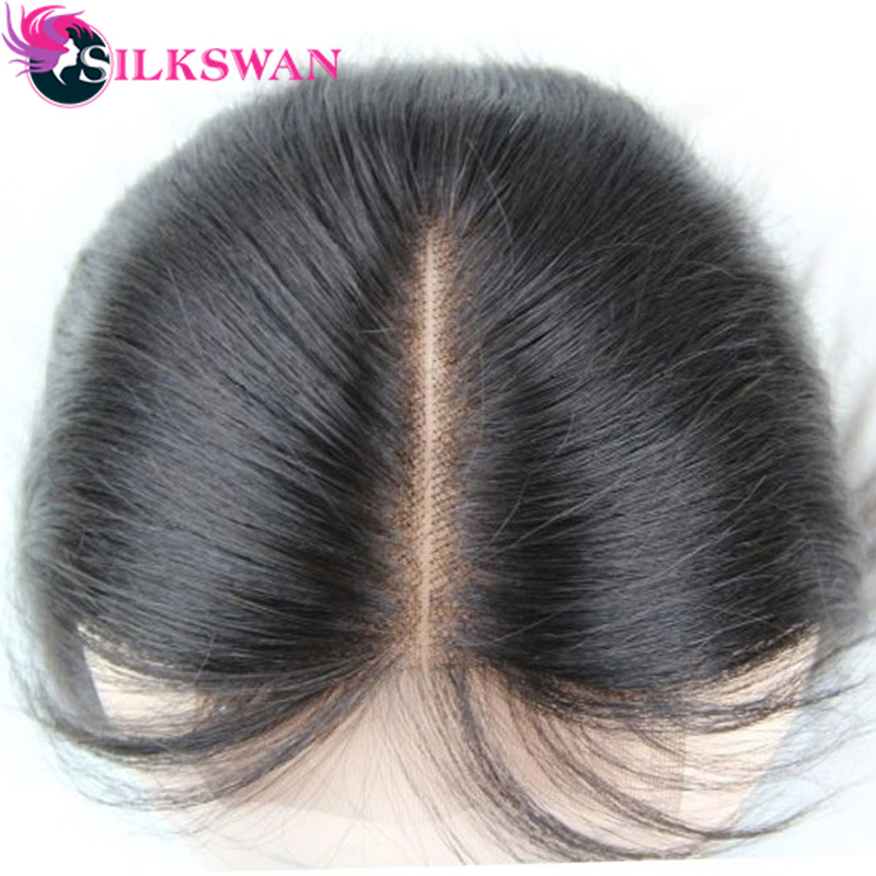 Silk Base Closure Straight Human Hair 4x4 Silk Lace Closure Free Part Closure Bleached Knots With Baby Hair Brazilian Remy Hair