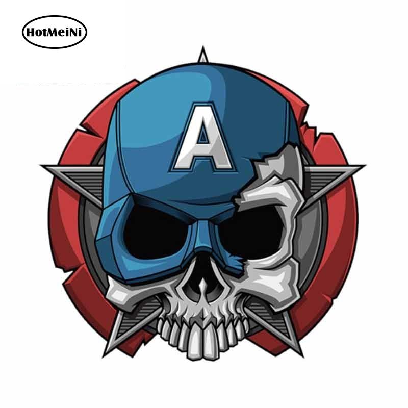 HotMeiNi 13 см x 9,1 см забавная наклейка для автомобиля с черепом Капитан Америка, царапины, 3D защита дверей автомобиля, Виниловая наклейка в подар...