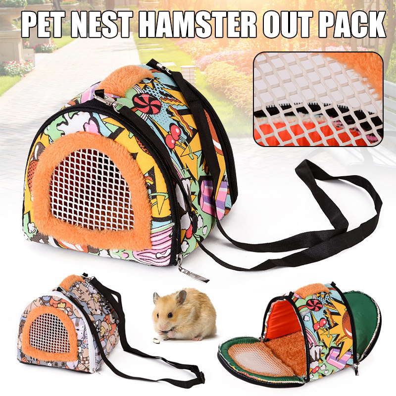 Colorful Cartoon Pet Carrying Travelling <font><b>Backpack</b></font> Canvas Plush <font><b>Backpack</b></font> for Hamster Guinea Pig Hedgehog Squirrel YU-Home image