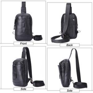 Image 4 - Flanker 2019 novo genuíno couro de homens saco peito com bolso com zíper marca de moda saco do mensageiro saco de viagem masculino rding sling crossbody saco