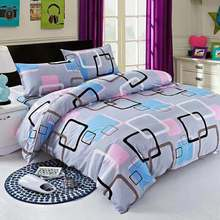 2019 Bed 4 Pcs/Set Classic Bedding Set sizes Grey Blue Flower Duvet Cover Pastoral Sheet AB Side