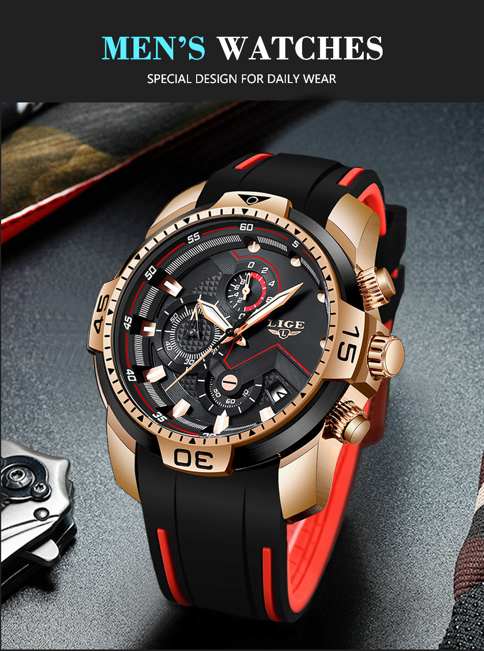 Hba8b4295f1ec4427b802c8f55f49834bo 2020 LIGE Sport Watch Men Brand Luxury Chronograph Silicone Strap Quartz Mens Watches Waterproof Clock Relogio Masculino+Box