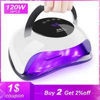 120W High Power Nail Droger Snelle Uitharding Snelheid Gel Licht Nagel Lamp LED UV Lampen Voor Alle soorten gel Met Timer En Smart Sensor