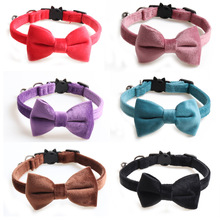 Solid Color Cat Collar Velvet Bowknot Puppy Chihuahua Collars with Bell Adjustable Safety Buckle Cats Bow Tie Pets Accessories