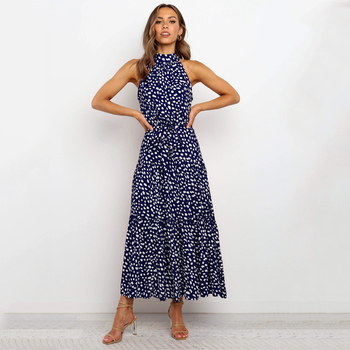 Summer Long Dress Polka Dot Casual Dresses Black Sexy Halter Strapless New 2020 Yellow Sundress Vacation Clothes For Women 8