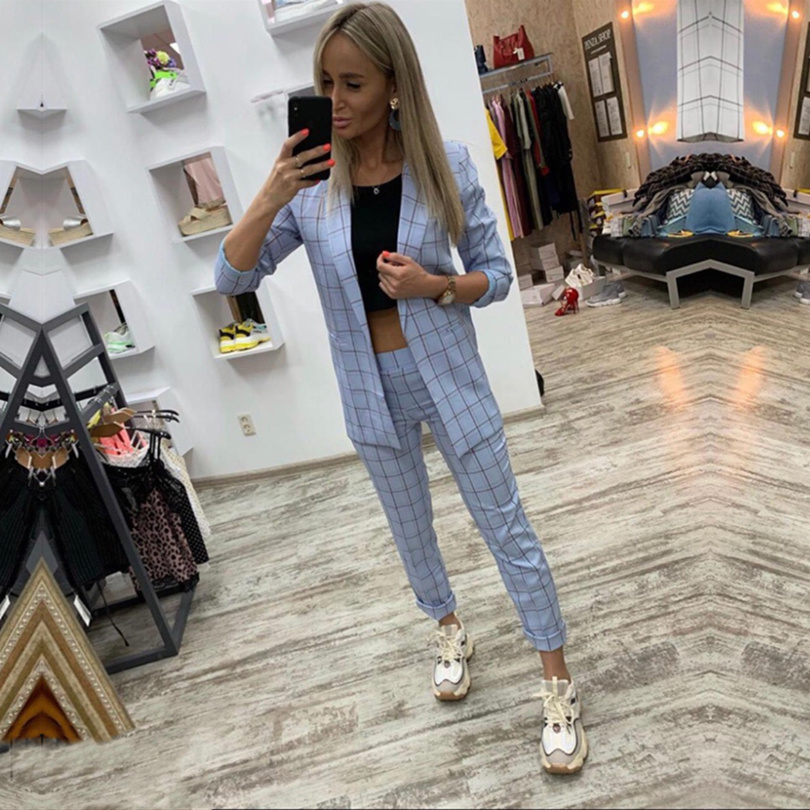Taotrees Spring And Autumn Women Plaid V-neck Long Sleeve Tops+Slim Ankle-length Pants Suit