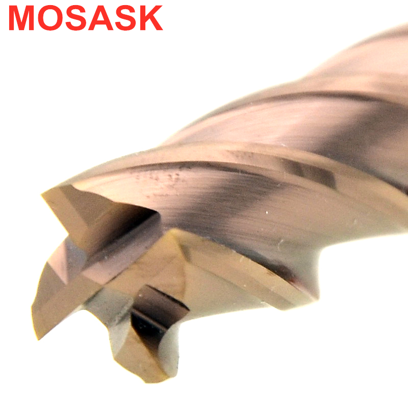 MOSASK 4 Flutes HRC50 12mm 10mm 6mm 4mm CNC Milling Cutters Tools For Steel Solid Carbide End Mills