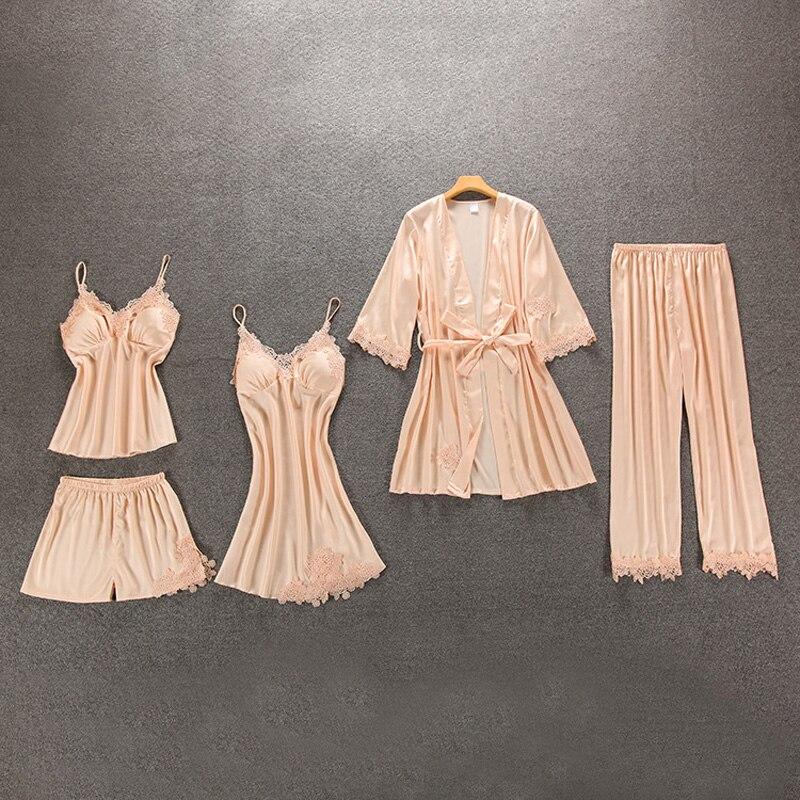 Pajamas sets Women pajamas Sleepwear 5pcs/sets Camisole Women Robes Silk like pajamas Women nightgown babydolls Summer Pink