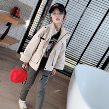 Girls Coat 3-13 Years Old Solid Children's Jackets Korean Girl Tooling Jacket Spring and Autumn Children's Clothing Kids Clothes girls solid jacket
