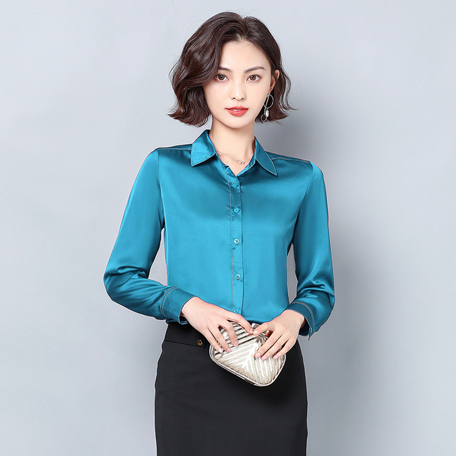 New Women Satin Silk Shirt Spring Autumn Long Sleeve Lapel Collar Office Ladies Work Shirt Women Blouse Casual Elegant Basic Top 2