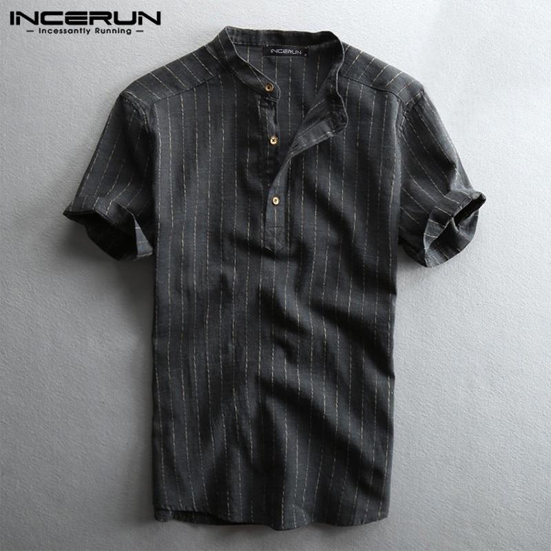 Summer Striped Shirt Men Breathable Short Sleeve Stand Collar Harajuku Casual Blouse 2020 Streetwear Camisa Masculina INCERUN