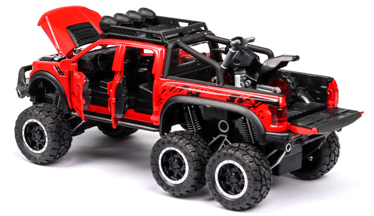 New 1:32 Ford Raptor F150 Big Wheel Alloy Diecast Car Model With With Sound Light Pull Back Car Toys For Children Xmas Gifts 5