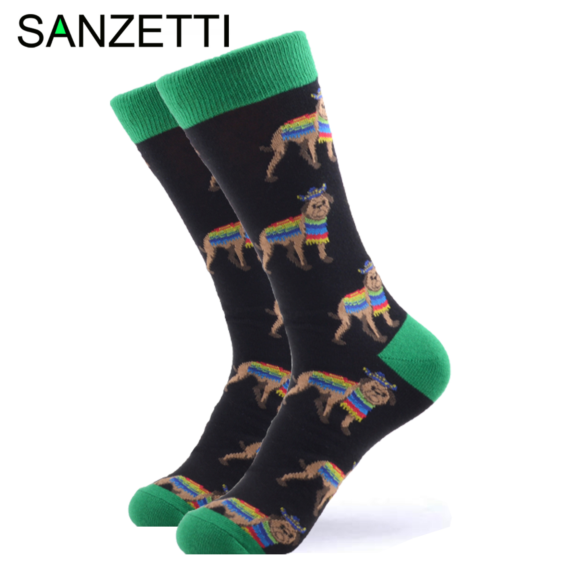 SANZETTI 1 Pair Happy Socks High Quality Men's Colorful Comfortable Combed Cotton Animal Funny Novelty Gift Wedding Dress Socks