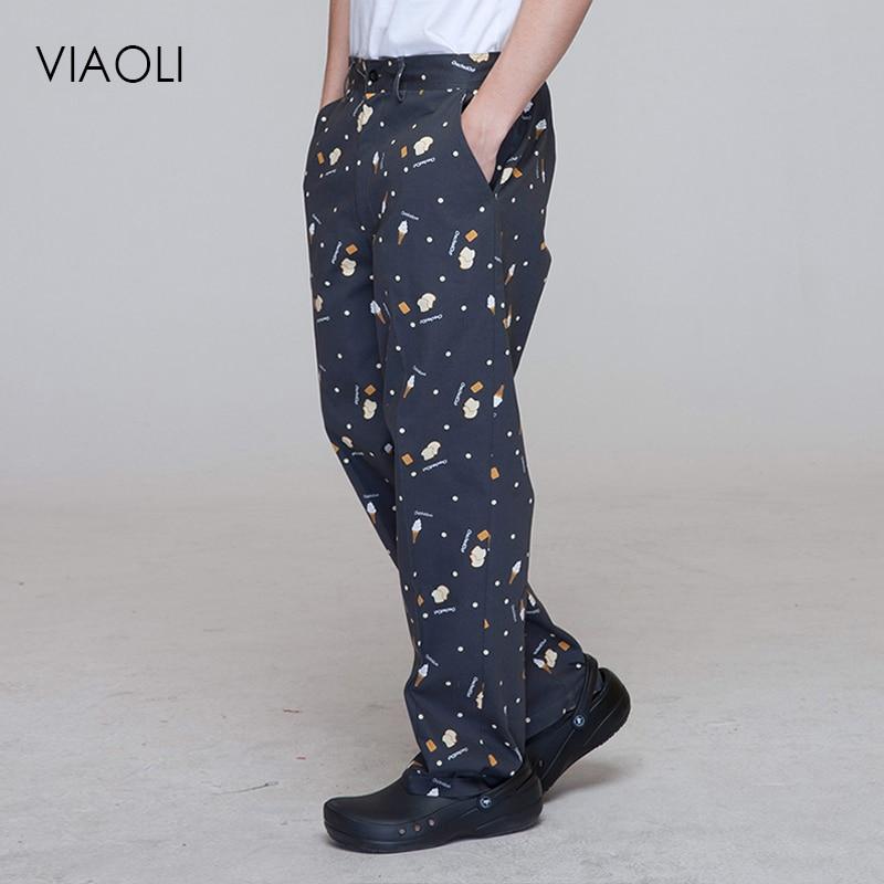 Viaoli Restaurant Chef Uniform For Men Pants Kitchen Trouser Chef Uniforms For Women Pants Elastic Waist Bottoms Working Clothes
