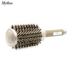 Mythus brosse ronde en céramique ionique, brosse à cheveux professionnelle, technologie Nano, antistatique, résistante à la chaleur, poils de sanglier, pour boucler les cheveux