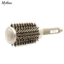 Mythus מקצועי ננו טכנולוגיה קרמיקה יונית שיער עגול מברשת חזיר זיפי חום עמיד שיער קרלינג מברשות