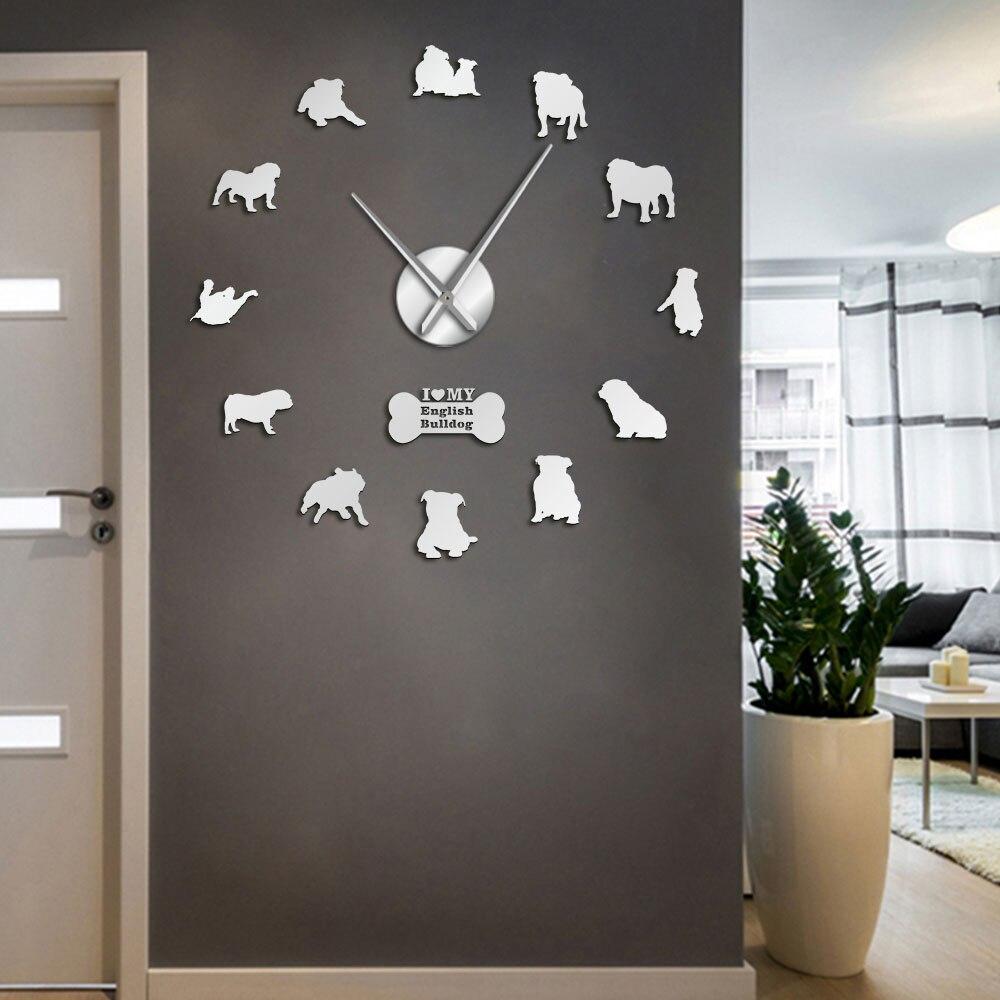 English Bulldog Home Decor Wall Clock British Bulldog Silhouettes Wall Art DIY Large Wall Clock Timepieces Big Time Wall Clock