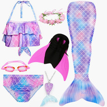 2019 4PCS Set HOT Kids Girls Mermaid Tails with Fin Swimsuit Bikini Bathing Suit Dress for Girls With Flipper Monofin For Swim cheap Shorts mermaid tail with Fins anime Sets ariel mermaid tail swimsuit with Fin spandex Costumes