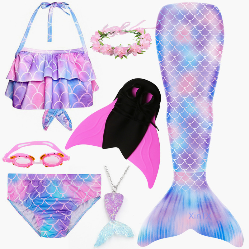 2019 4PCS/Set HOT Kids Girls Mermaid Tails With Fin Swimsuit Bikini Bathing Suit Dress For Girls With Flipper Monofin For Swim
