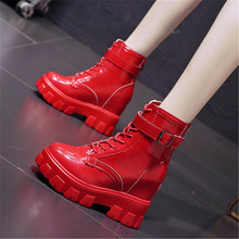 Punk Boots Sneakers Motorcycle-Boots Platform Women Wedge-Heels Autumn Patent Leather