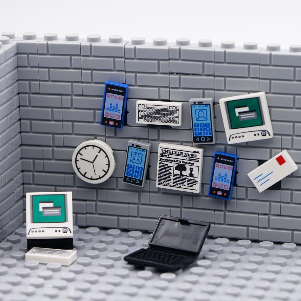 Bricks City Accessories 2x2 Computer Keyboard Newspaper Mobile Phone Mini Figure Toy Print Compatible LegoINGlys Building Blocks