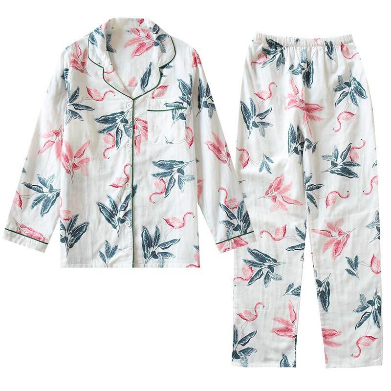 2020 Women Spring And Autumn Flamingo Printed Pajamas Set Comfort Breathable Sleepwear Ladies Fresh Style Full Sleeve House Wear