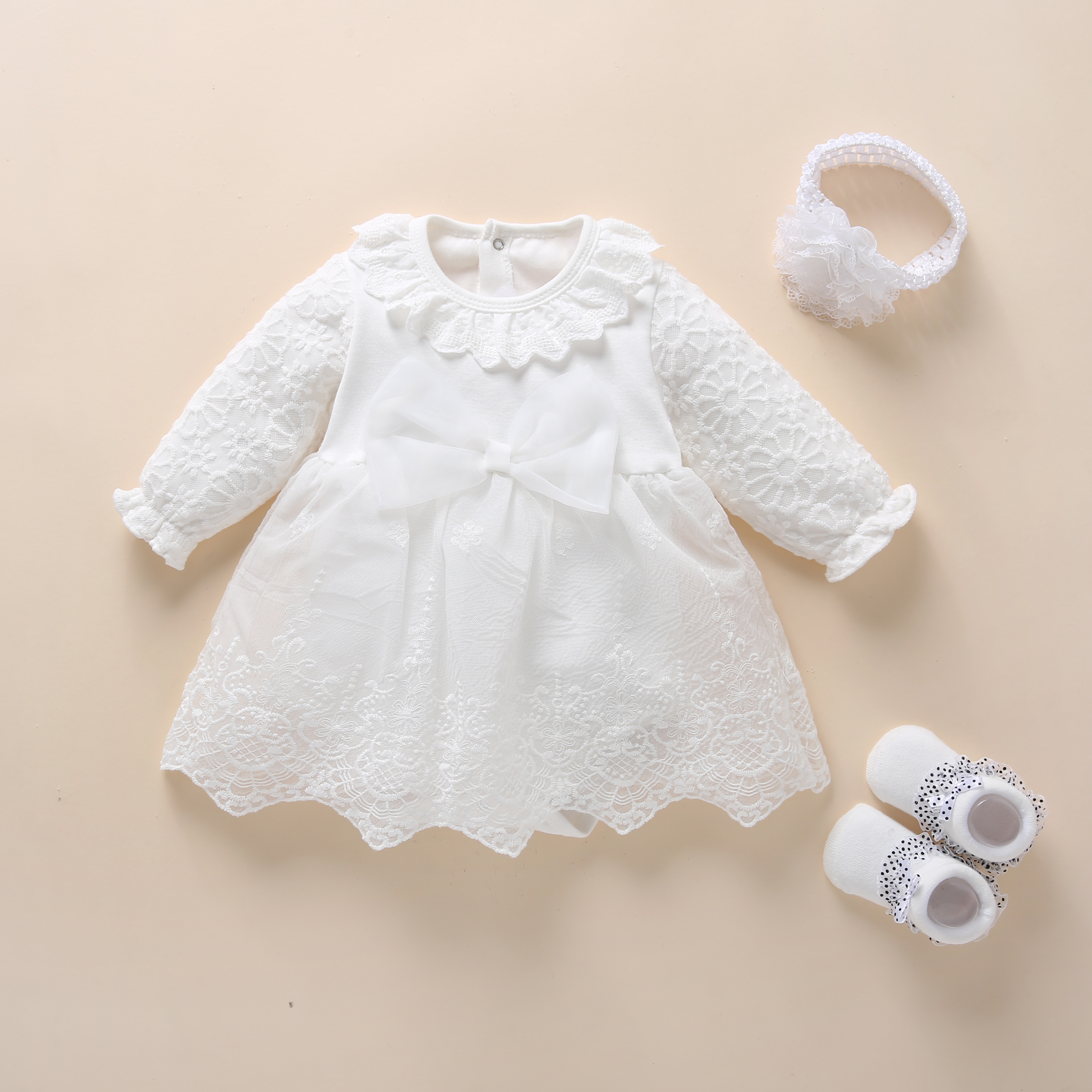 Baby Baptism Dress 2019 Bow Newborn Baby Girls Infant Dresses & Clothes Snow White Baby Dress 1 Year Old Birthday Girl Dress