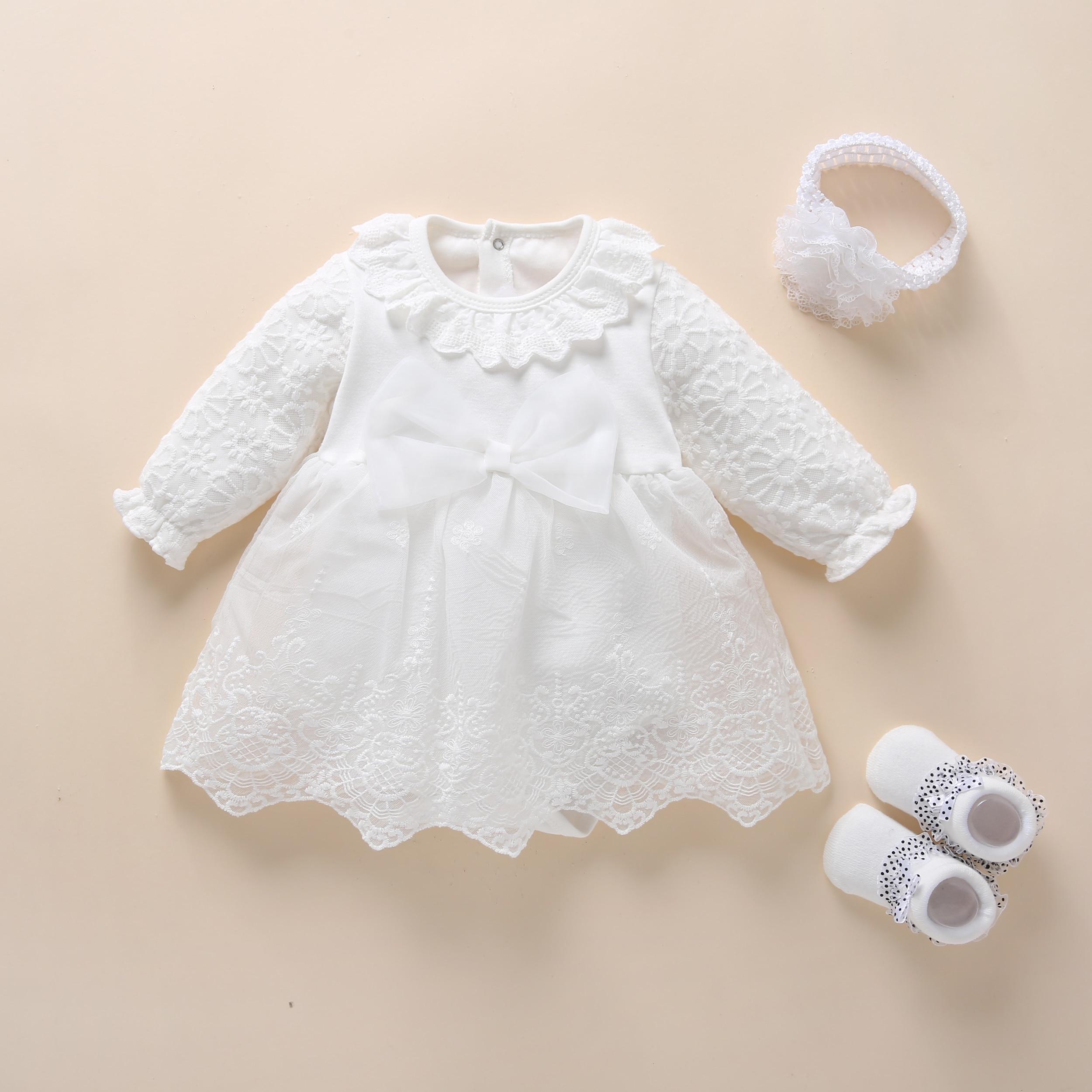 Bebê baptismo vestido 2019 arco bebê recém-nascido meninas vestidos infantis & roupas neve branco bebê vestido 1 ano de idade aniversário menina vestido