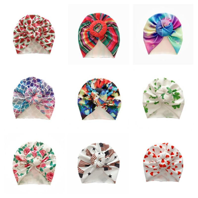Tie Dye Cartoon Baby Hair Bands For Girls Pritned Newborn Baby Girl Headbands Fruit Flower Baby Turban Hat Knot Mermaid Rainbow