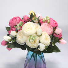 2pcs/lot Artificial Rose Silk Peony Flowers For Wedding Decor Fake Bouquet 5 Flower Head And 4 Bud