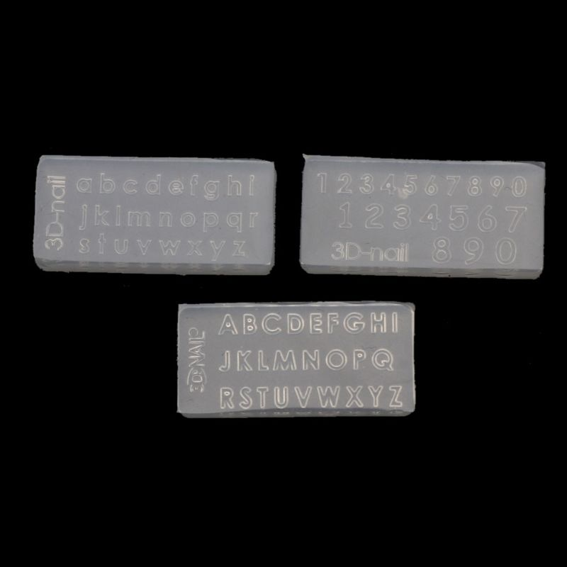 3Pcs Small Size Numbers Letters Mold Kit Alphabet Pendant UV Resin Silicone Mold