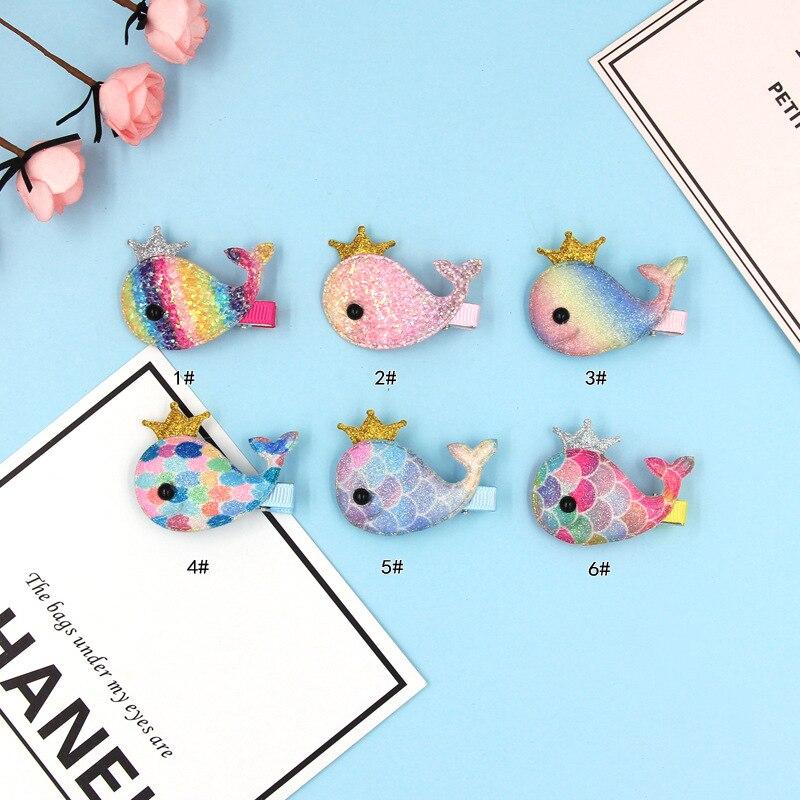 2PC Lovely Cartoon Animal Rainbow Whale Children's Series Sequin Hair Grips Sweet Girls Hair Pins Hair Accessories HeadWear