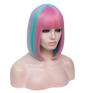 Image 5 - MSIWIGS שני צלילים בובו קוספליי פאות נשים ורוד כחול מעורב ישר פאה עם פוני קצר סינטטי שיער פאות