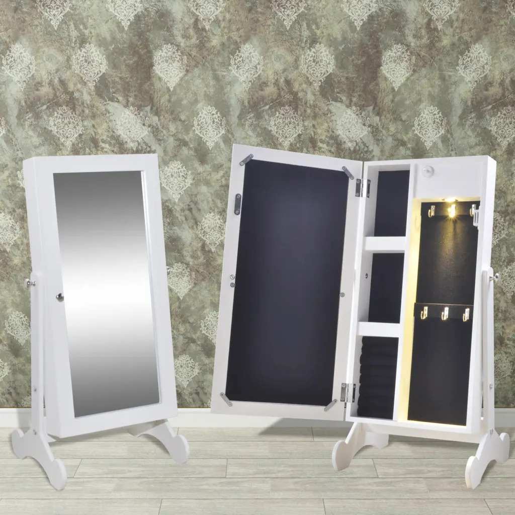 VidaXL Jewelry Cabinet With Mirror And LED Lighting 241283