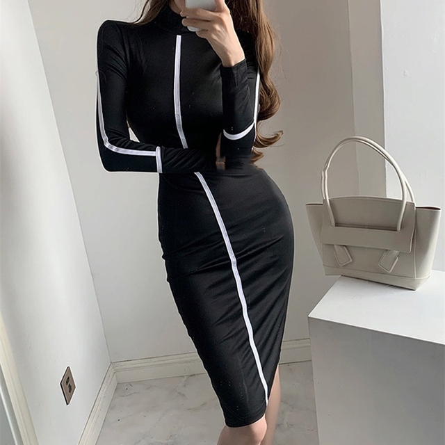 Small high necked long sleeved Kardashian Dress High Waisted 6