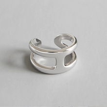 925 Sterling Silver Very Simple Glossy Double H Personality Opening Adjustable Ring Ladys Geometric Accessories