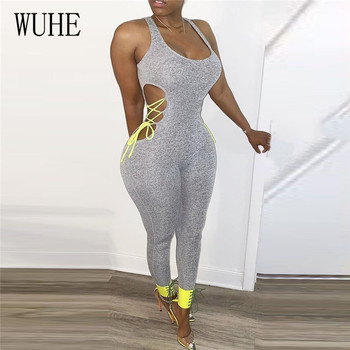 WUHE Fitness Summer Bodycon Rompers Womens Jumpsuit Sleeveless Casual Workout Activity Wear Side Lace Up Hollow Out Bodysuit lace up side sleeveless bodysuit