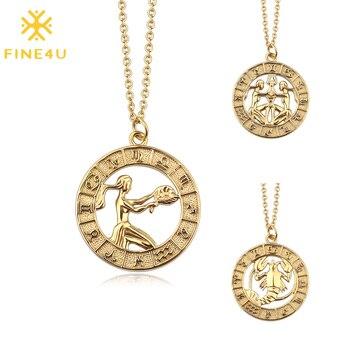 FINE4U N556 12 horoskop znak zodiaku złoty wisiorek naszyjnik ze stali nierdzewnej 12 konstelacji naszyjnik na prezenty urodzinowe dla kobiet