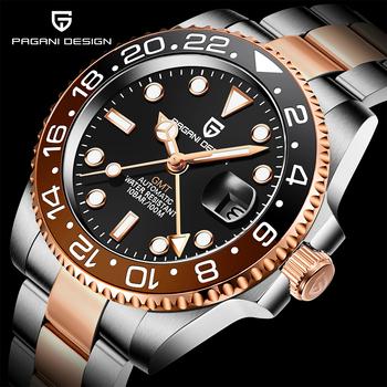 PAGANI DESIGN nowe różane złoto ceramiczna ramka szkiełka zegarka GMT zegarek luksusowe szafirowe szkło automatyczny zegarek męski zegarek mechaniczny ze stali nierdzewnej tanie i dobre opinie 10Bar CN (pochodzenie) Składane bezpieczne zapięcie Luxury ru Mechaniczna nakręcana wskazówka Samoczynny naciąg 22cm