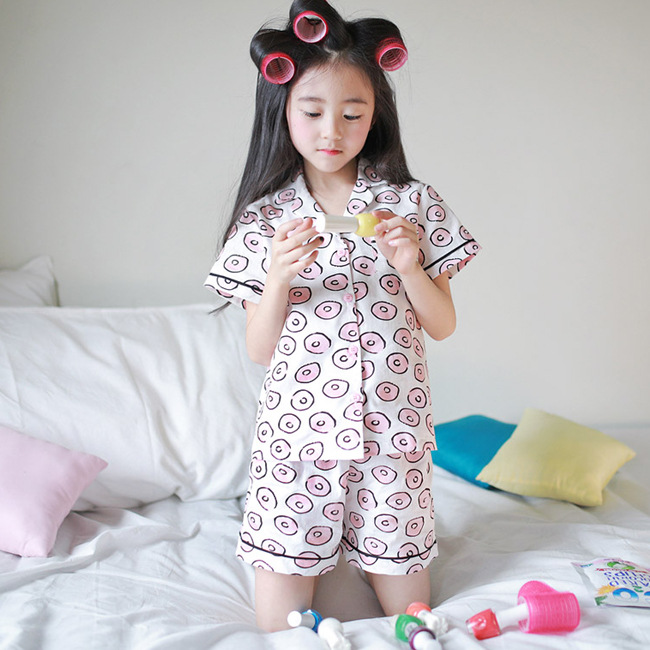 J4013 Summer Korean-style Fold-down Collar-Pajamas CHILDREN'S Suit-Style Printed Home Girls Hipster Pajamas Suit